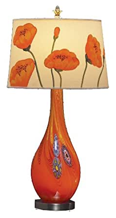 Lite Source LS-20504 Oriole Art Glass Table Lamp and Night Light with Floral Fabric Shade