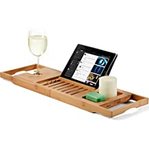 Bambusi Bathtub Caddy Bamboo Bath Tray with Extending Sides, Reading Rack, Tablet Holder, Cellphone Tray and Wine Glass Holder - Perfect Gift Idea