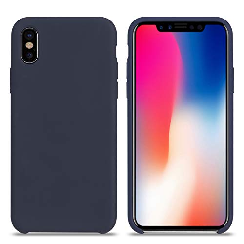 iPhone Xs MAX Case, Liquid Silicone Gel Rubber Shockproof iPhone Xs MAX Silicone Case with Soft Microfiber Cloth Lining Cushion for Apple iPhone Xs MAX. (Midnight Blue, XS MAX 6.5'')
