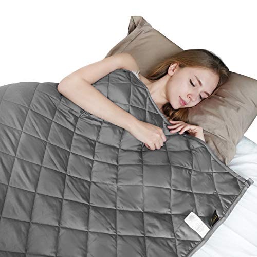 Cheap FOOZOUP Weighted Blanket 15lbs 48 x 72 Premium Heavy Blanket 4.0 3 inch Quilted Weighted Throw 100% Cotton Twin/Full/Size for Individuals Adults Anxiety Dark Grey Black Friday & Cyber Monday 2019