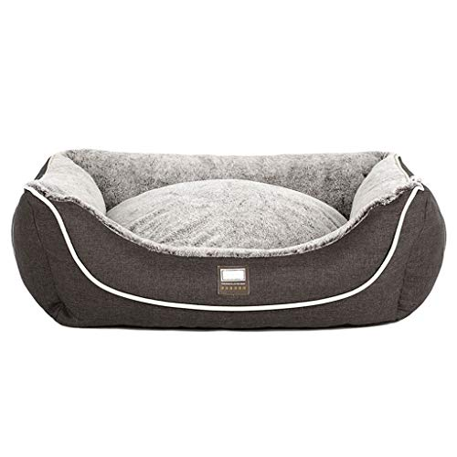 (MTFZD Plush Pet Dog Bed, Pet Cave Round Or Oval Shape Dimple Nesting Pet Bed for Cats and Small Dogs (Color : Brown, Size : XS:453522cm) )