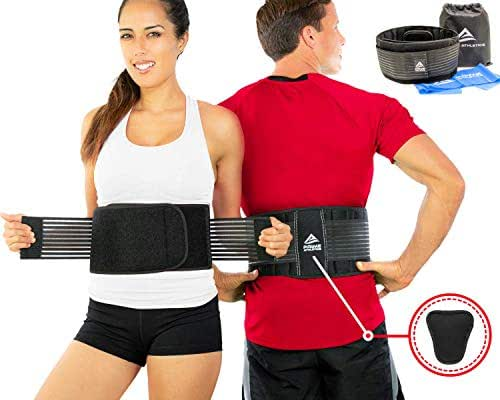 Lumbar Support Belt - Back Brace for Back Pain Relief, Herniated Disc, Sciatica, Scoliosis, Men & Women, Breathable Design Lumbar Pad & Adjustable Straps | Bonus Resistance Band & Carry Bag (S/M)