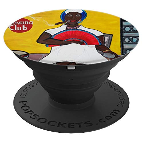 Black Afro Cuban Lady Fan Drum Cuban Cigar Havana Cuba Gift - PopSockets Grip and Stand for Phones and Tablets