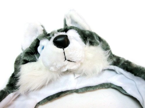 Plush Animal Hat HUSKY Hood Long with Paws Gloves and Scarf (Bear Hood With Paw Scarf)