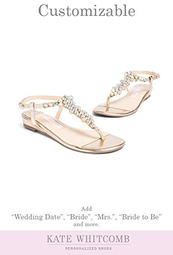 "Flat Wedding Shoes -""Patent-Pending"" personalization - Gold wedding sandal - Style Bella"