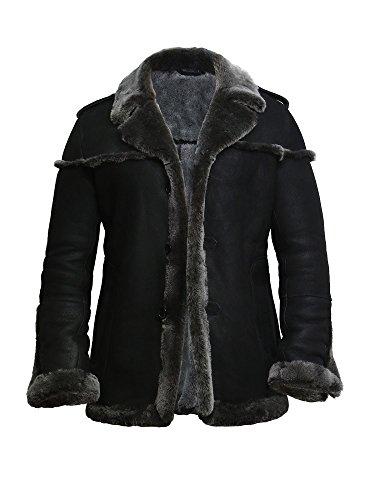Brandslock Mens Black Aviator Merino Sheepskin Jacket Warm Winter Thick Sheepskin Coat (Black, 3XL)