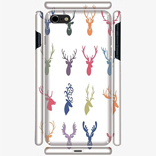 Phone Case Compatible with 3D Printed iPhone 6Plus/iPhone 6sPlus DIY Fashion Picture,Various Reindeer Antlers Illustration Hunter Wild,Hard Plastic Phone Back Cover Shell Protective]()