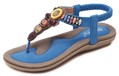 Jewels Daily (DolphinBanana Colorful Summer Vacation T Strap Flat Sandals Blue Open Toe Thongs Jewels Gem Beads Dressy Casual Daily Wear Flip Flop Fashion Design for Women Girls Seaside Beach Match Plus Large Size)