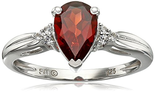 Sterling Silver Garnet and Lab White Sapphire Pear Shape Ring, Size 7