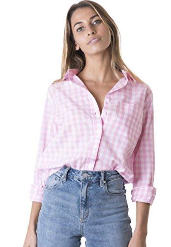 CAMIXA Women's Gingham Shirt Checkered Casual Long Sleeve Button Down Plaid Top XS Soft Pink