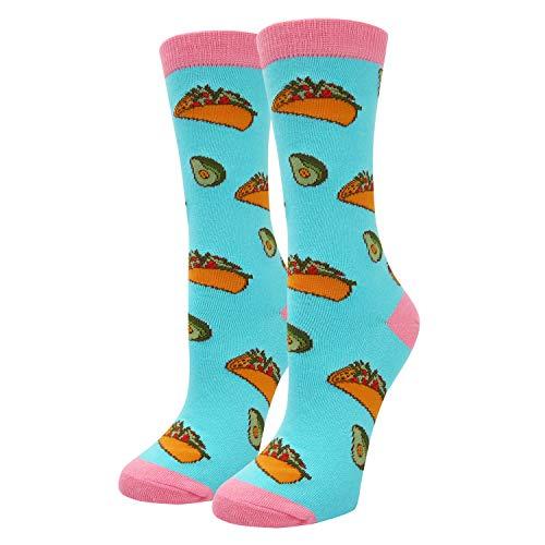 Women Girls Novelty Funny Llama Unicorn Crew Socks Crazy Funky Teeth Pineapple Avocado Socks (Taco & Avocado) -