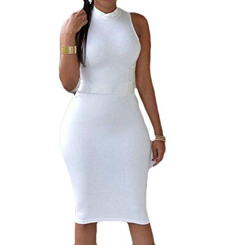 Lace Vestiti Senza Maniche Bianco Sera Di Dal Up Randello Coolred Fuori donne Colore Scavano Puro B0q7cxUwC