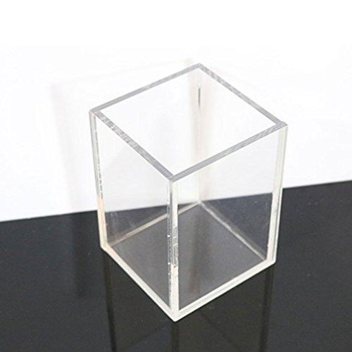 Ping Bu Qing Yun Cosmetic Brush Storage Box Transparent Lidless Square Acrylic Single Brush Bucket Pen Eye Shadow Eyebrow Brush Storage Box (Color : Black)