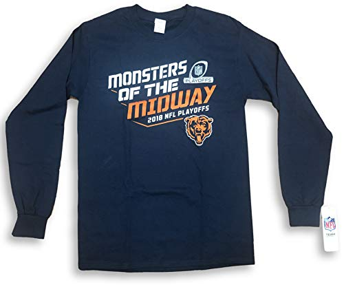 NFL Team Apparel Chicago Bears Monster of The Midway Long Sleeve Adult T-Shirt (Small)