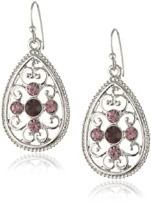 "1928 Jewelry ""Violet"" Silver-Tone Amethyst Filigree Teardrop Earrings"