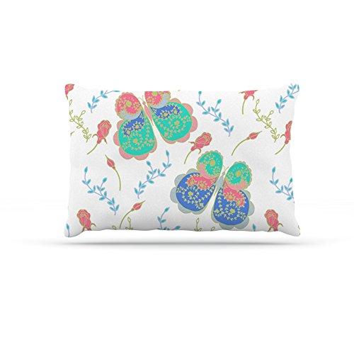 Kess InHouse Anneline Sophia Leafy Butterflies Pink  Fleece Dog Bed, 50 by 60 , Teal Butterfly