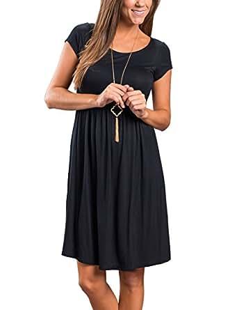 Ebizza Women's Casual Short Sleeve Tunic Crewneck Loose T Shirt Mini Dress Size Small Black