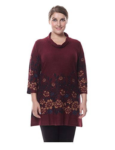 Chicwe Women's Cowl Neck Cashmere Touch Plus Size Tunic Dress with Rhinestone 16, Red