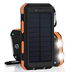 ✔️Portable Outdoor Waterproof, Shockproof, Dustproof, Nimble Solar Charger for Mobile Cell Android Phones . ✔️Universal 10000 mAh LED Light Solar powered wireless portable battery phone charger for iPhone, Android, Galaxy note, Laptop, Ipad m...