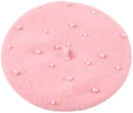 ベレー帽,Dabixx 子供キッズユニセックス秋かわいい画家ベレー帽キャップフェイクパール装飾キャンディーソリッドカラーウールフラットハットレトロアーティスト2-7T - ピンク