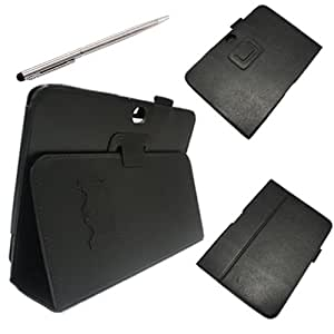 Worldshopping Black PU Leather Stand Case Flip Cover Pouch With Touch Stylus Pen Slot Holder Design For Samsung Galaxy Note 10.1 inch N8000 N8010 N8013 Tablet +Free Accessory