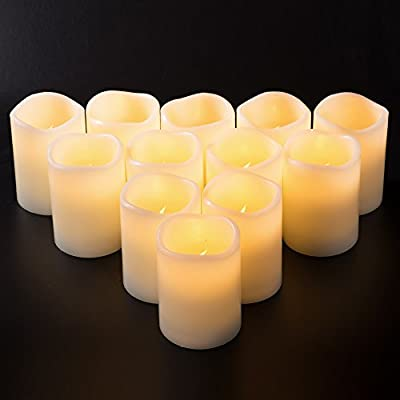 Enpornk Set of 12 Flameless Candles Battery Operated LED Pillar Real Wax Flickering Electric Unscented Candles with Remote Control Cycling 24 Hours Timer, Ivory Color