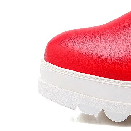 AllhqFashion Damen Niedriger Absatz Blend-Materialien Mittler Kalb Ziehen auf Stiefel Rot