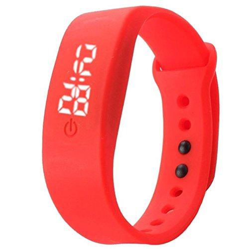 Sport 5 Digital Jelly (Fashion Silicon Strap Watch Date Sports Bracelet Digital running LED Wrist Watch for Women Men (Red))