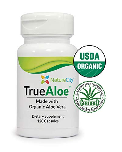 Aloe Vera Bottle - TrueAloe 100% Organic Aloe Vera Supplement - 120 Capsules per bottle
