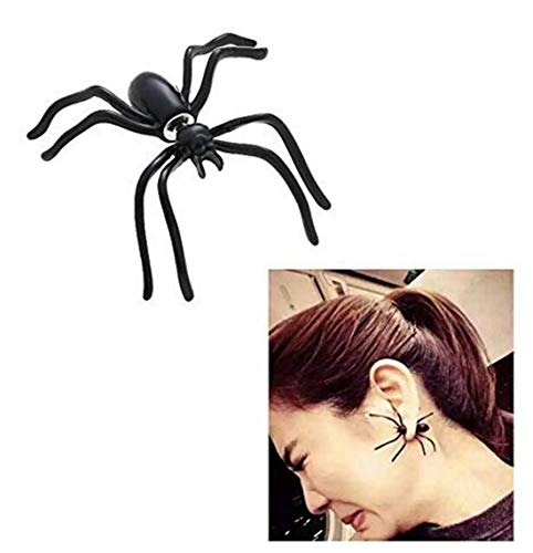 LOSOUL 1 Pair Hot Fashion Womens Halloween Black Spider Charm Ear Stud Earrings Jewelry