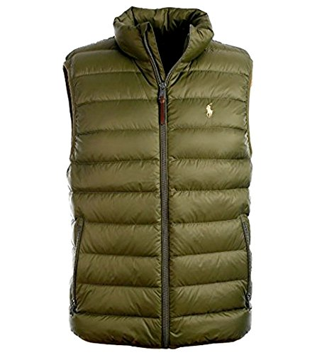 Polo Ralph Lauren Mens Down Filled Outerwear Vest, (Company Olive, S)
