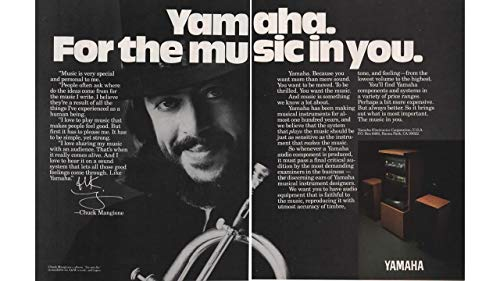 "Magazine Print Ad: 1982 Musician Chuck Mangione for Yamaha Sound/Audio Systems,""Yamaha. For the Music in You"", 2 pages"