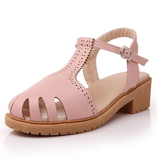 LongFengMa Women's T-Strap Fretwork Thick Rome Heeled Sandals Shoes Pink rbt6Gbt