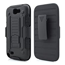 Galaxy Note 2 Case,Stanlance Swivel Belt Clip Holster Shell Cover with Kickstand [MILITARY GRADE] Heavy Duty Sturdy Rubber Armor Case for Samsung Galaxy Note 2