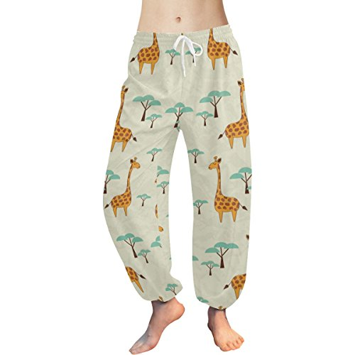 Cute Cartoon Giraffe Pattern Print Women's Yoga Harem Pants
