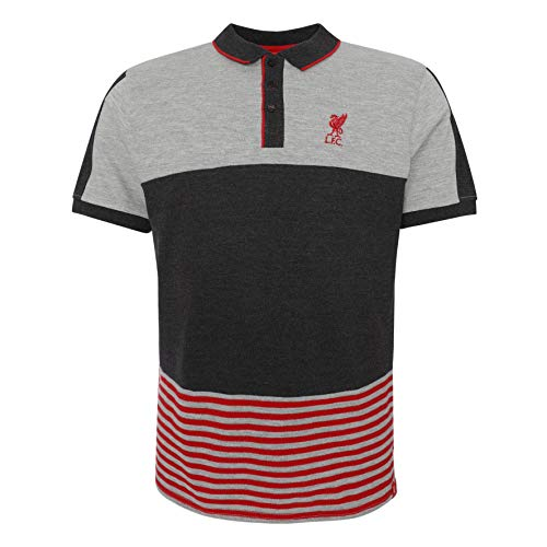 - Liverpool FC Mens Soccer Colour Block Stripe Polo Jersey SS19 LFC Official Grey