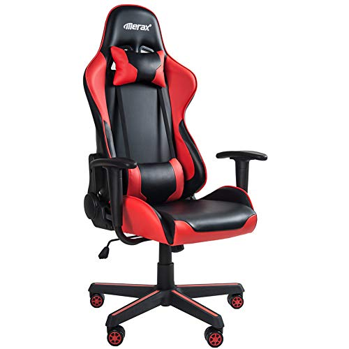 Merax Gaming Chair Office Computer Desk Chair Racing Style High Back PU Leather Chair Swivel Chair with Headrest and Lumbar Support (Black and Red)