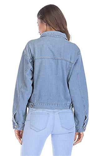Cappotto Stlie Grazioso Autunno Eleganti Denim Outwear Moda Sciolto Donna Ricamo Allentato Jacket Blu Vintage Fiori Corto Primaverile Lanceyy Giubbotto Manica Jeans Bavero Lunga wfU1Ug