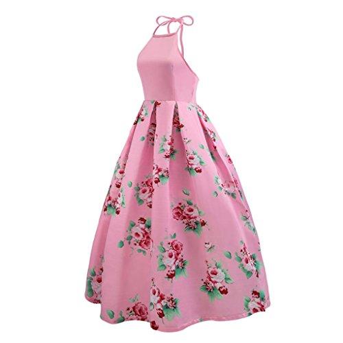 bottoni a Fami vita a alta Abito maniche vintage Hepburn vintage Rosa floreale fiori con senza qYaxzqRr7