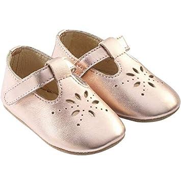 0f3593d0c1bd2 Tichoups Chaussures bébé cuir souple Salomé rose métallique 16 17 ...