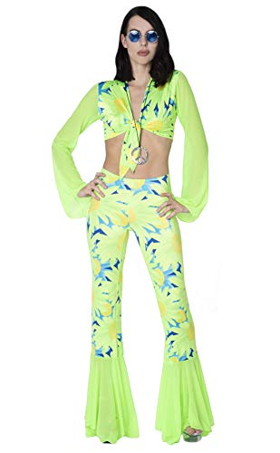 Delicate Illusions Adult Women 1960's 1970's Retro Hippie Costume 3X (18-20) Lime Floral