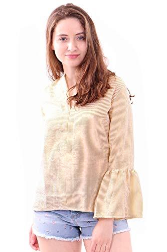 WuhouPro Womens Seersucker Bell Sleeve Poet Blouse-AZ-1500-MIMOSA-M