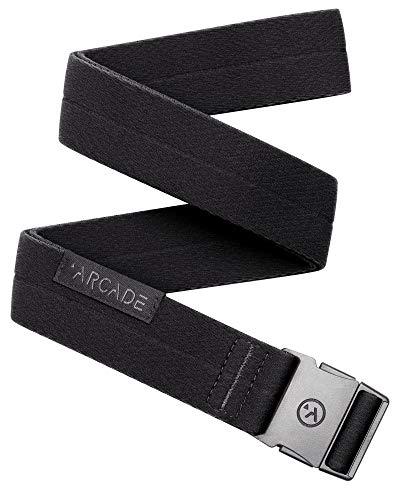 (Arcade Belt Mens Adventure Slim Belts: Narrow Width Elastic Stretch Webbing, Micro Adjust Buckle, Midnighter Black Noir)