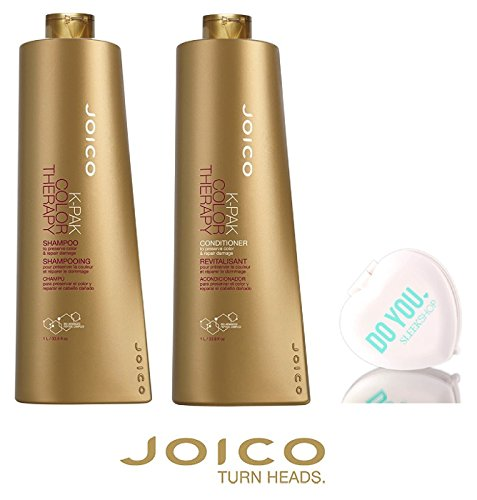 Joico K-Pak Color Therapy Shampoo & Conditioner DUO SET - to preserve color & repair damage (with Sleek Compact Mirror) (33.8 oz / 1000ml Large Liter DUO KIT) -