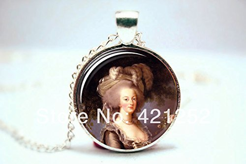 Pretty Lee 2015 Fashion Marie Antoinette Necklace Art Pendant Charm With Necklace Chain Glass Cabochon Necklace 3097 Christmas gift (Pendant Antoinette Glass)