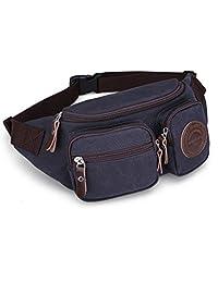 Muzee Mens Canvas Waist Pack Running Sling Backpack Crossbody Bag Fanny Packs (Blue black)