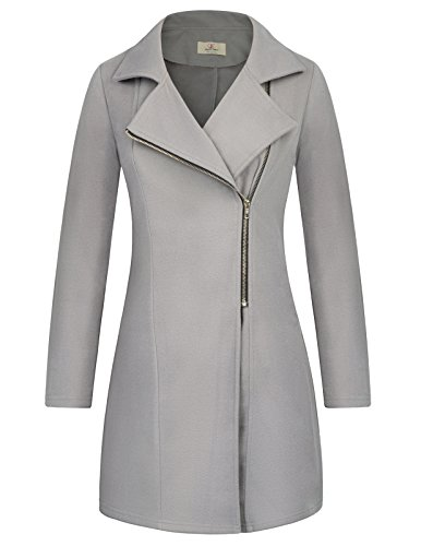 GRACE KARIN Womens Winter Casual Zipper Pea Coat Trench Coat Size S,Dark Grey (Charex Wool Coat)