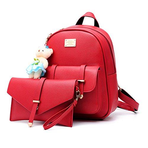 Wewod Bolsa de Hombro del Recorrido del Bolso de Escuela de la PU Cuero de las Mujeres Moda Estudiante Mochila 2 Conjunto 25 x 31 x 13 cm (L*H*W) Rojo