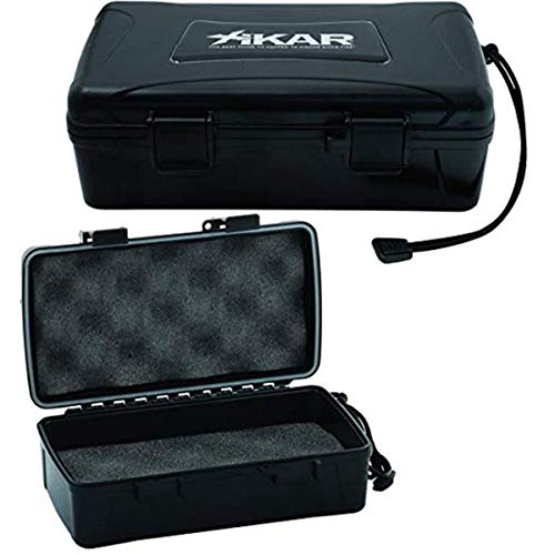 Xikar Cigar Travel Carrying Case, Holds 10 Cigars, Includes 1 Humidifier, Model 210Xi, Black