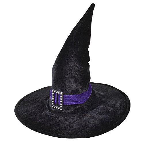 Bristol Novelty BH259 Witch Hat Velvet with Belt & Buckle, One Size